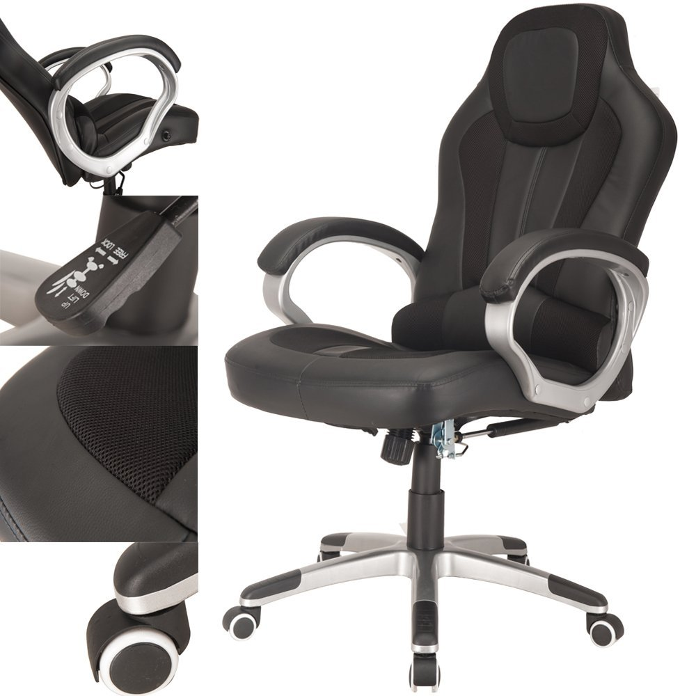 Raygar Deluxe Padded Sports Racing Gaming Office Chair Black Raygardirect Com